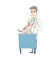 young caucasian veterinarian examining dog vector image