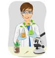Young woman biologist in white coat holding flasks vector image