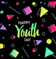youth day card abstract 90s party decoration vector image