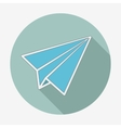 Flat style icon with long shadow paper plane vector image
