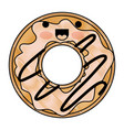 kawaii donut with cream glazed in colored crayon vector image