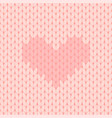 pink knitted seamless pattern with heart vector image