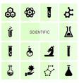14 scientific icons vector image vector image