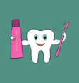 a cartoon tooth holds a toothbrush and toothpaste vector image vector image