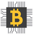 bitcoin symbol icon as computer microchip vector image vector image