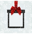 Blank black square banner in form of Christmas vector image