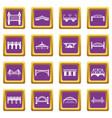 bridge icons set purple square vector image vector image