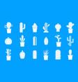 cactus icon blue set vector image