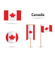 canada flags set vector image