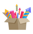 Carton box full of pyrotechnics isolated on white vector image