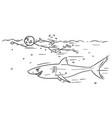cartoon stick man relaxing swimming crawl vector image vector image