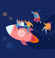 cheerful business men and women flying in space vector image