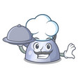 chef with food whistling kettle cartoon on the vector image