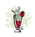 Cocktail with strawberry sketch for your design vector image