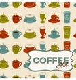 Coffee cup seamless pattern with tag Vintage style vector image