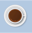 coffee cups top view realistic 3d food design vector image vector image