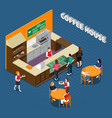 coffee house isometric composition vector image vector image