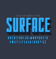 condensed 3d display font design alphabet vector image vector image