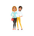 couple of happy young women standing together and vector image vector image