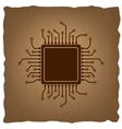 CPU Microprocessor Vintage effect vector image vector image