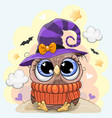 cute owl in a halloween hat vector image vector image