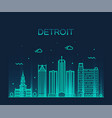 detroit city skyline michigan line city vector image