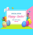 easter sale offer poster with eggs and bunny vector image