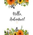 floral watercolor card design autumn orange vector image vector image