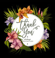 greeting card with tropical flowers vector image vector image