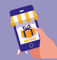 hand and smartphone with shopping online vector image vector image