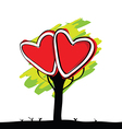 handwriting of kid painted heart tree vector image