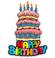 happy birthday sign with tall cake vector image vector image