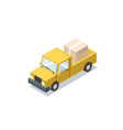 isometric yellow wagon car with boxes minivan vector image vector image