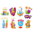kids zones set children playground game room or vector image vector image