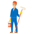 man working as engineer painter with roller vector image