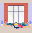 men characters working rest and study together vector image