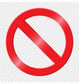 prohibiting sign icon with red crossed circle vector image