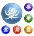 rose icons set vector image