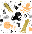 seamless pattern cute octopus childish background vector image