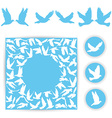 Set design wedding card White doves on a blue vector image vector image