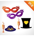 Set icons carnival masks hats vector image