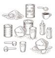 set of cartoon of milk powder vector image vector image