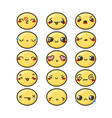 set of cute lovely kawaii emoticon vector image vector image