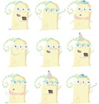 Set of funny yellow monster at birthday party vector image vector image