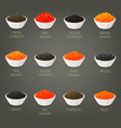 set of isolated seafood fish food caviare vector image vector image