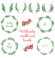 set watercolor wreaths and laurels vector image vector image