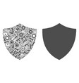 shield collage of service tools vector image