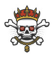 skull with a crown and a gold chain vector image vector image