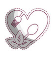 sticker heart with spoon and fork inside with vector image vector image