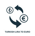 turkish lira to euro icon mobile app printing vector image vector image
